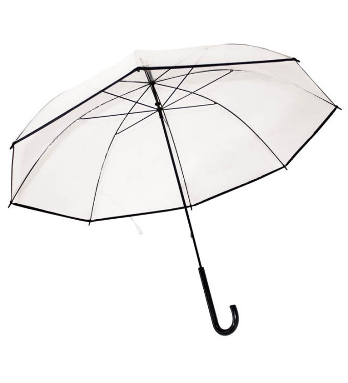 Guarda-chuva pvc transparente de punho plástico curvo c/ baínha preta