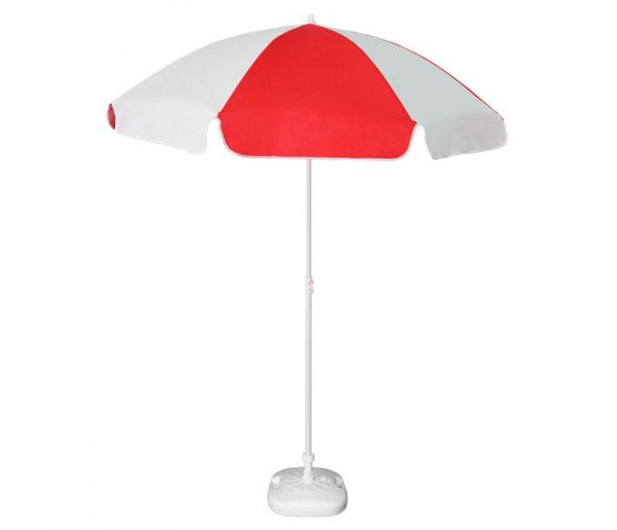 Guarda-sol poli-algodão redondo c/inclinação - 1,80m - Branco/Vermelho