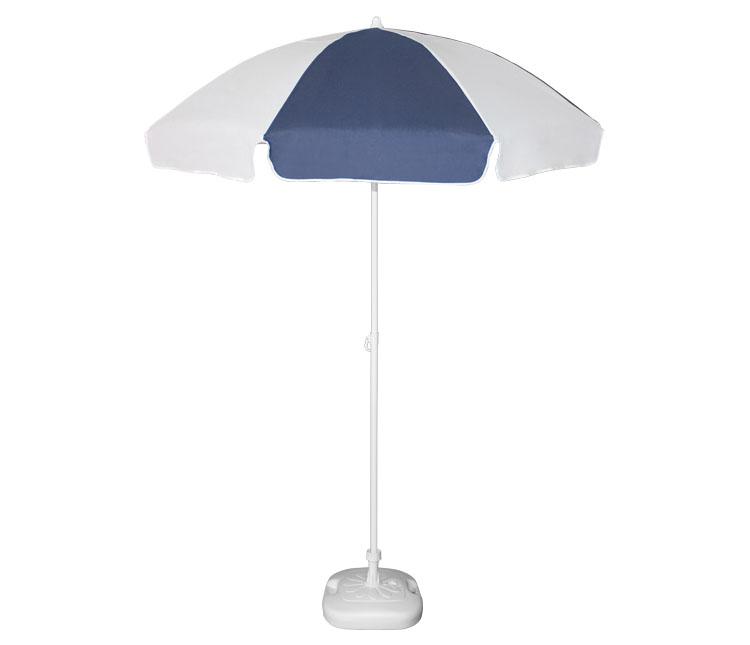 Guarda-sol poli-algodão redondo c/inclinação - 1,80m - Branco/Azul