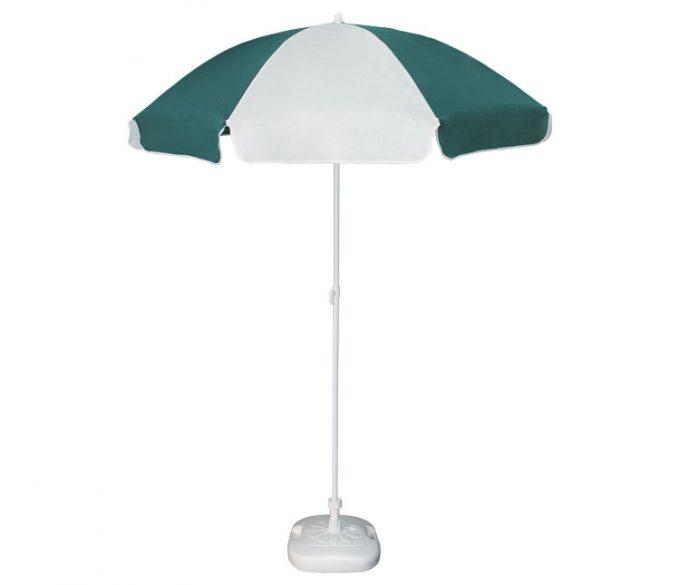 Guarda-sol poli-algodão redondo c/inclinação - 1,80m - Branco/Verde