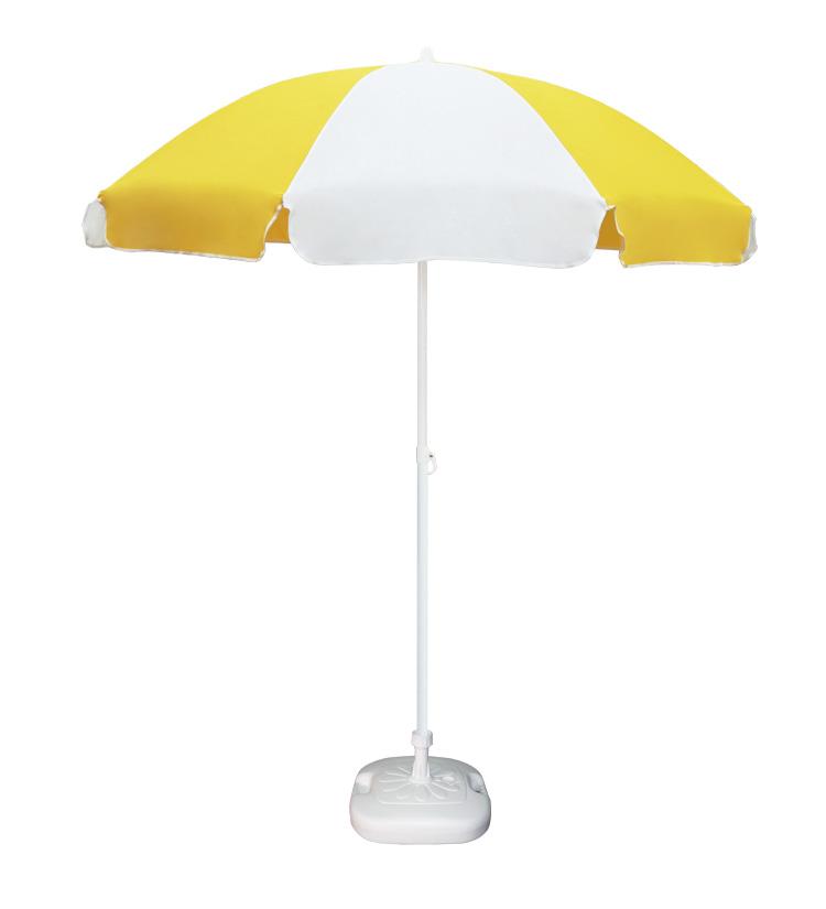 Guarda-sol poli-algodão redondo c/inclinação - 1,80m - Branco/Amarelo